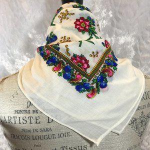 Vintage Print Neck Or Purse Scarf Pure Virgin Wool